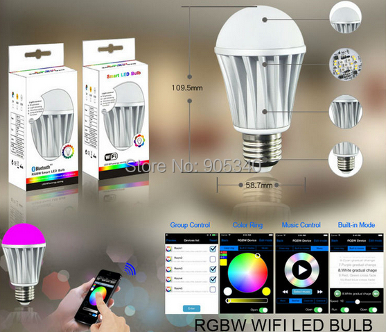 WIFI led bulb 7.5W RGB+White  dimmablelamp smart home for IOS&Android  iPhone Ipad control led magic bulb smart lamp wifi rgb led lamp bulb dimmable e26 rgb color light for smart home support for alexa and google home
