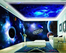 beibehang High quality decorative painting papel de parede 3d wallpaper cool universe sky flying saucer theme space background
