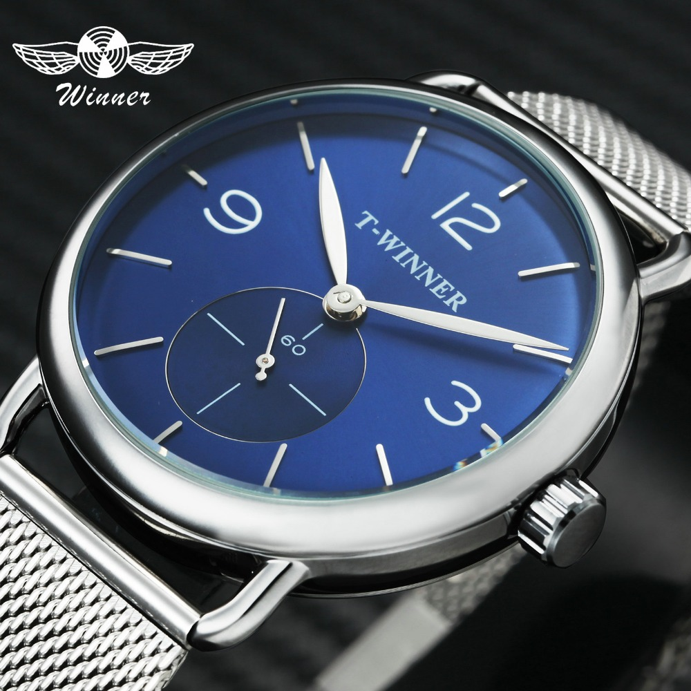 Ultra Thin Mechanical Blue Working Sub-Dial Display Concise Steel Hand-Wind Clock