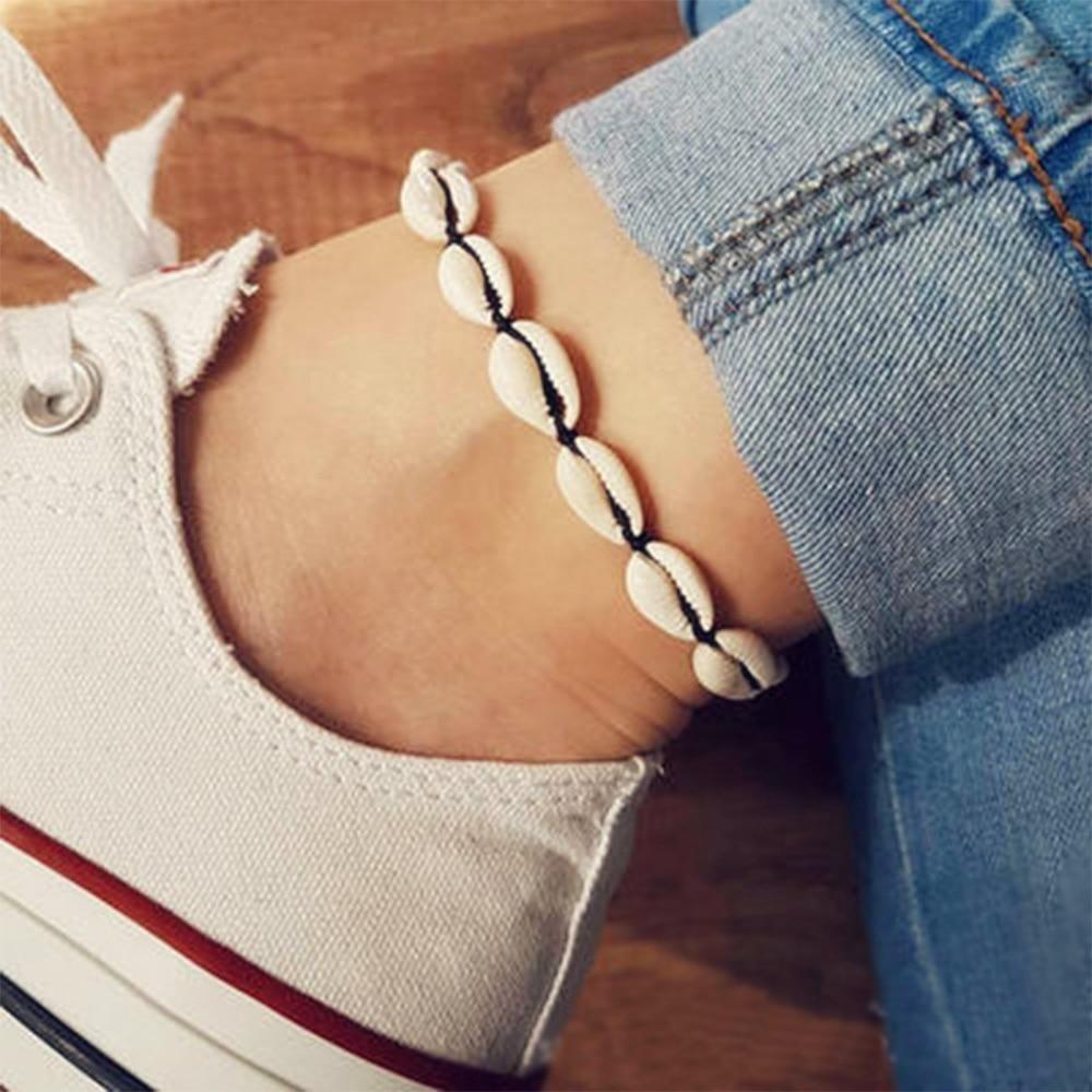Vintage Black Rope Anklets for Women Shell Foot Jewelry Summer Beach Barefoot Bracelet Ankle on leg Ankle Bohemian Shell Anklet