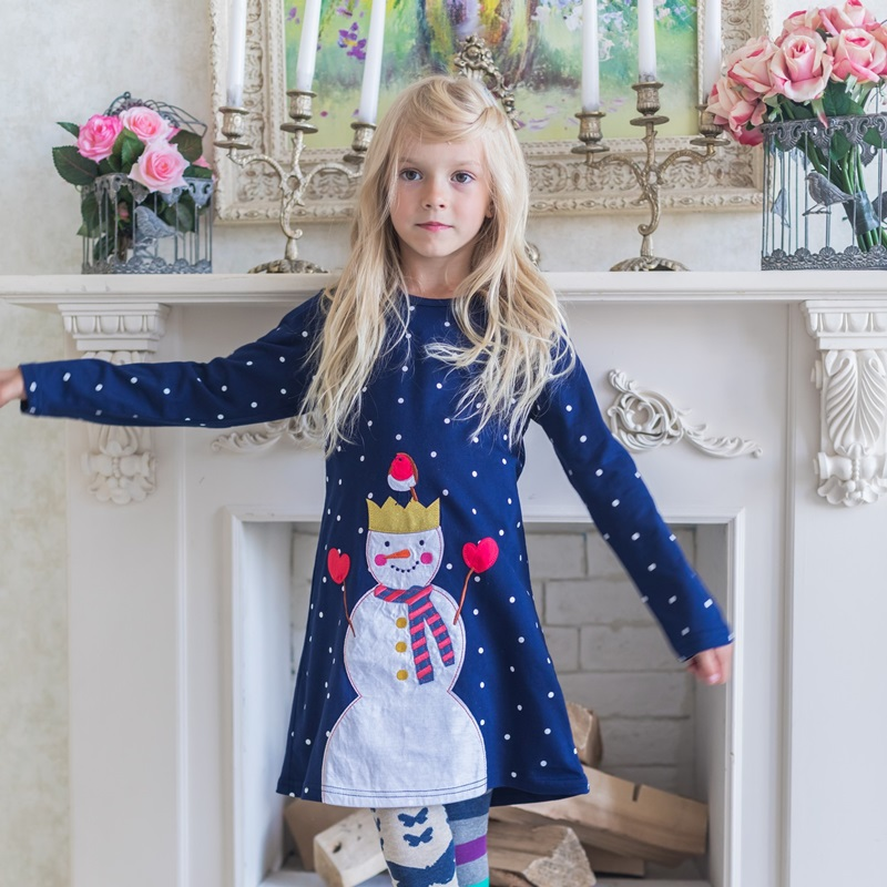 758af88a33d97 Kids Clothes Jersey Dress With Appliques Vestidos Children Clothing  Christmas Winter 2018 Girls Dresses for Party and Wedding-in Dresses from  Mother & Kids ...