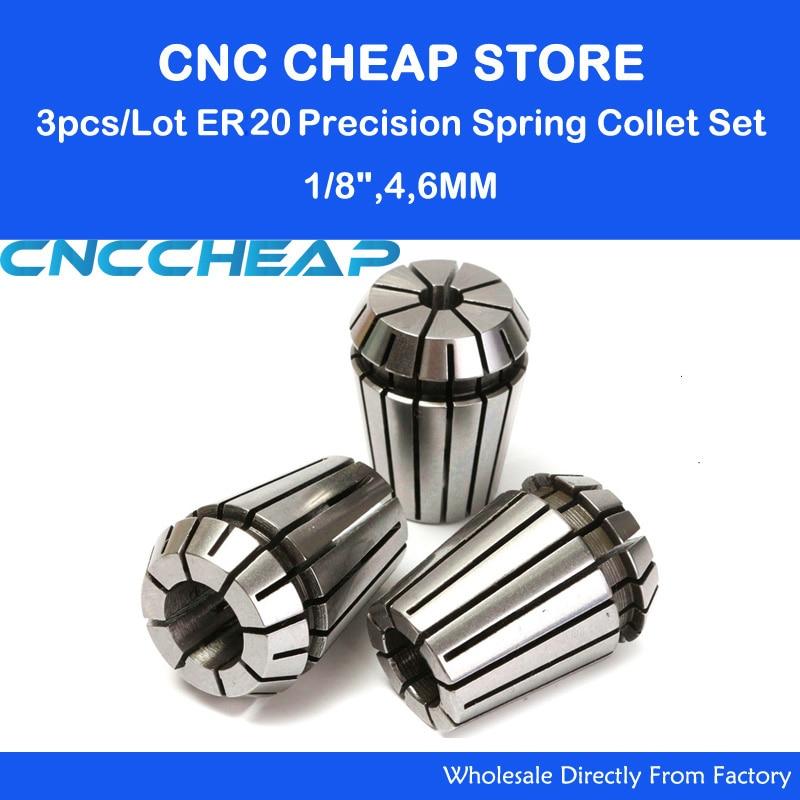3pcs/lot ER20 Collet Chuck, ER20 Collet Pindle Lathe Tool Holder CNC Router Milling Engraving Tool 3.175mm, 4mm, 6mm