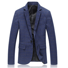 2017 spring New style Men's fashion leisure lattice suit jacket Men's Single button business suits blazers free shipping(China)