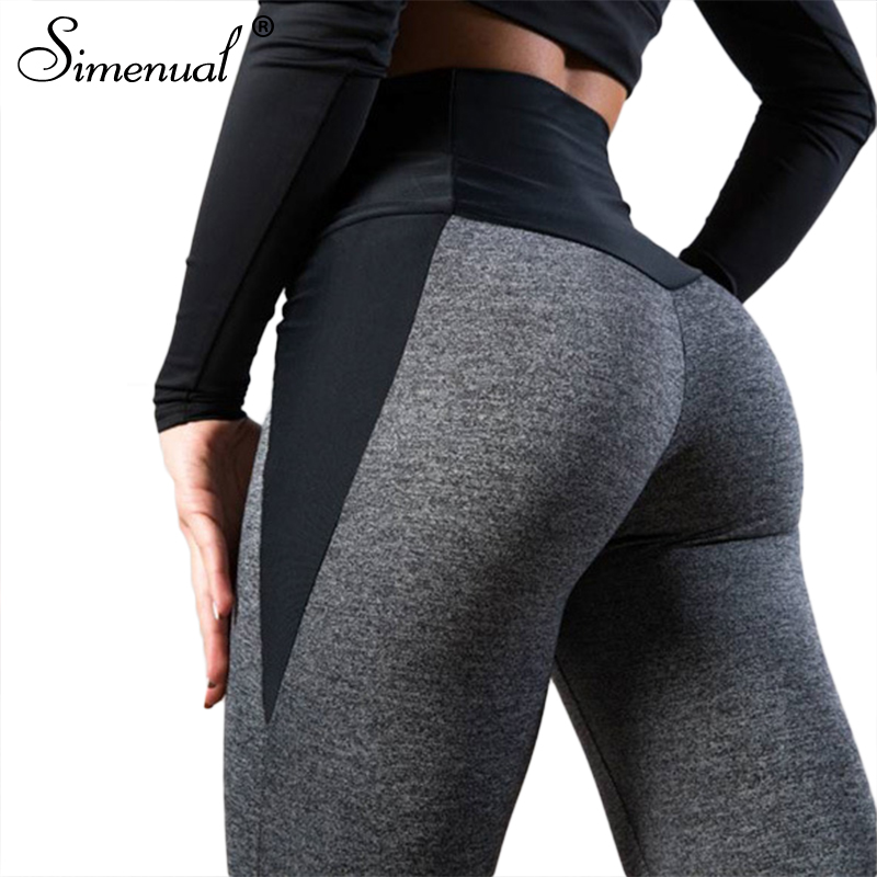 Simenual Push up leggings femme fitness patchwork black grey workout legging high waist athleisure activewear clothing for women