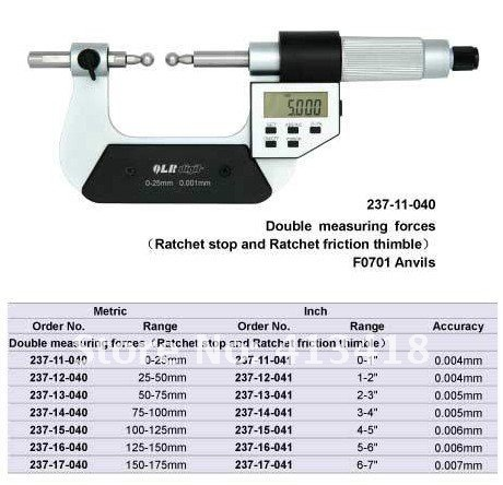 Gear Micrometers 50 75mm.2 3inch.Quality goods.237 13 040.Does not contain the measuring head|Micrometers| |  - title=