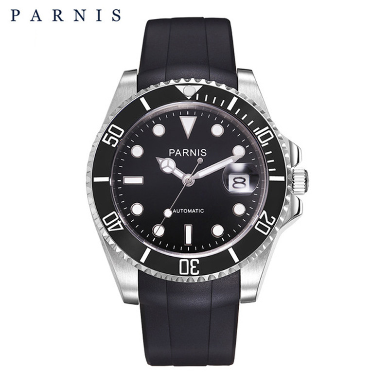 Parnis 40mm Mechanical Watches for Men 10Bar with Black Rubber Strap Bezel Ceramic Sports Watch Man