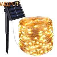 Año Nuevo lámpara Solar LED al aire libre 10 m/5 m LED cadena luces hadas vacaciones guirnaldas de la fiesta de Navidad jardín Solar luces impermeables
