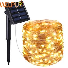 New year Solar Lamp LED Outdoor 10m/5m LED String Lights Fairy Holiday Christmas Party Garlands Solar Garden Waterproof Lights(China)