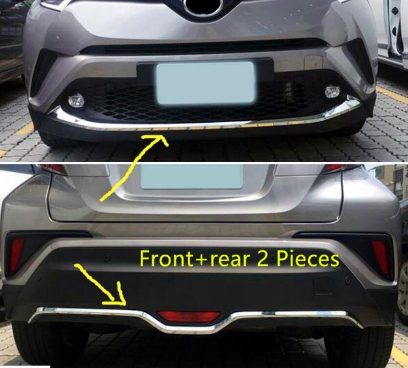 Car Styling Auto Accessories ABS Chrome Front & Rear Bumper Lip Cover Trims 2PC For Toyota C-HR C HR 2016 2017 for toyota rav4 2013 2014 2015 stainless steel front grilles cover racing grills car parts decoration trims auto parts 6pcs
