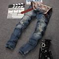 New Designer Ripped Jeans Men With Holes Super Skinny Famous Designer Brand Slim Fit Destroyed Torn Jean Pants For Male Homme