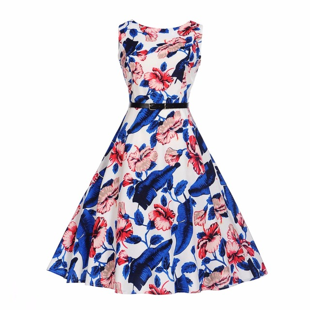 e3afec2cb1c Summer Womens Dresses 2018 Casual red blue Floral Retro Vintage 50s 60s  Robe Rockabilly Swing Pinup Vestidos Valentines Day