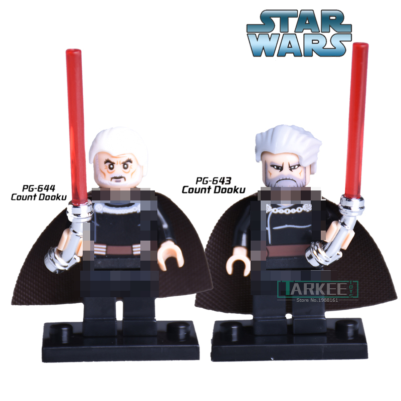1PC Star Wars Count Dooku With Red Lightsaber Children Classic Models Clone War Assemble Building Blocks Kids DIY Figure Bricks costume party star wars light saber blue and red starwar telescopic lightsaber cosplay 33 7 interactive sword model kids toys