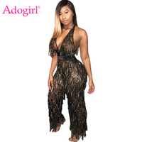 Adogirl Sequins Tassel Sheer Mesh Halter Jumpsuit Women Sexy Deep V Neck Backless Loose Romper Night Club Party Outfits Jumper