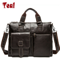New Fashion Men Bag Men S Genuine Leather Briefcase Handbag Vintage Laptop Bag Luxury Male Business
