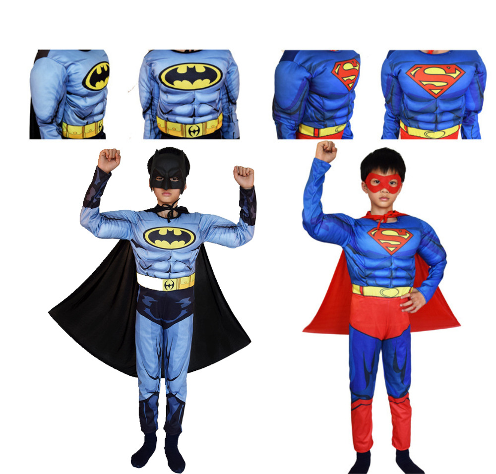 Superman Batman película clásico músculo niño halloween disfraz para niños Liga de la justicia infantil superhéroes vestido de lujo