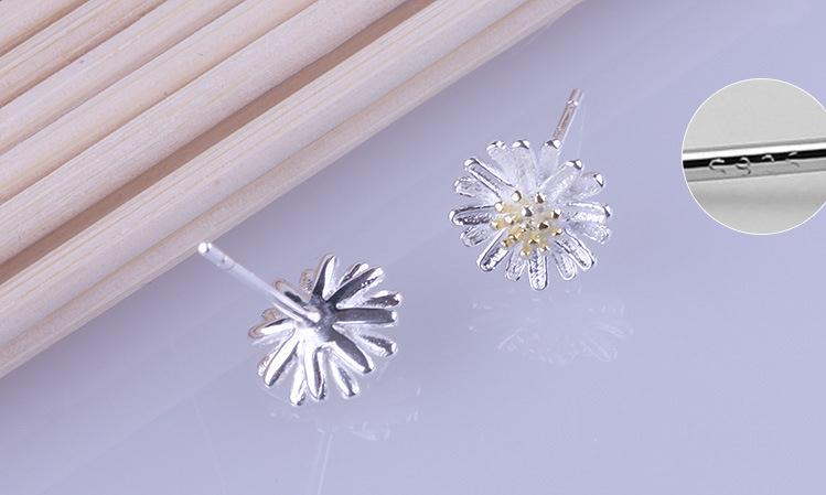 Wholesale 925 sterling silver fashion sunflower ladies stud earrings jewelry female Christmas gift drop shipping Anti allergy in Stud Earrings from Jewelry Accessories