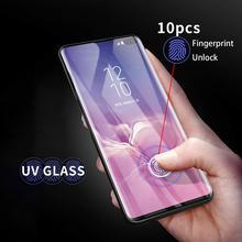 UV الزجاج المقسى لسامسونج غالاكسي S20 الترا S8 S9 S10 زائد حامي الشاشة نوت 20/10/9/8 غطاء كامل منحني السائل الغراء فيلم