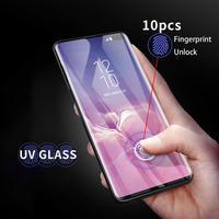 Uv Gehard Glas Voor Samsung Galaxy S20 Ultra S8 S9 S10 Plus Screen Protector Note 20 S21 Film Gebogen Vloeibare lijm Volledige Cover