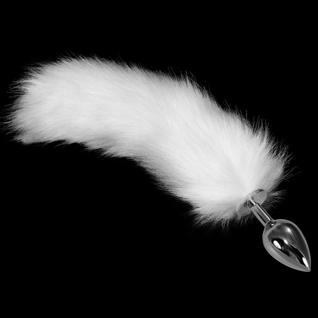 2016 Lovetoy Large Silver Plug+ 35cm Fluffy Tail Metal Anal Toys Butt Plug Tail Steel Anal Plug Sex Toys Sex Products LV5439L