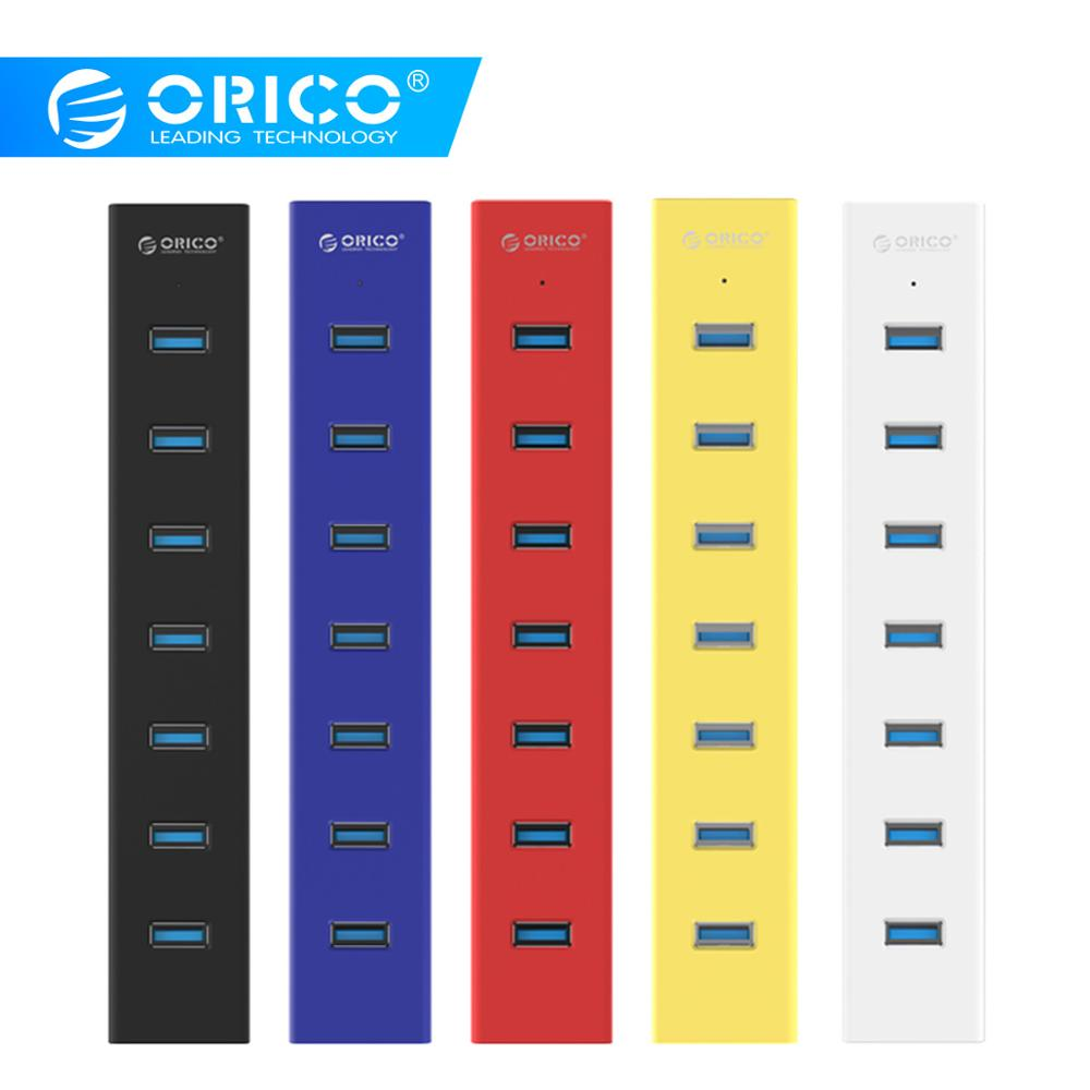 ORICO H7013 High Speed 7 Ports USB3.0 HUB Portable Desk USB Splitter With Power Adapter For Tablet Laptop Computer Notebook image