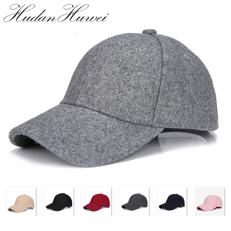Gorras de béisbol de fieltro de lana Unisex, sombrero de béisbol de fieltro de lana, Color sólido, Unisex