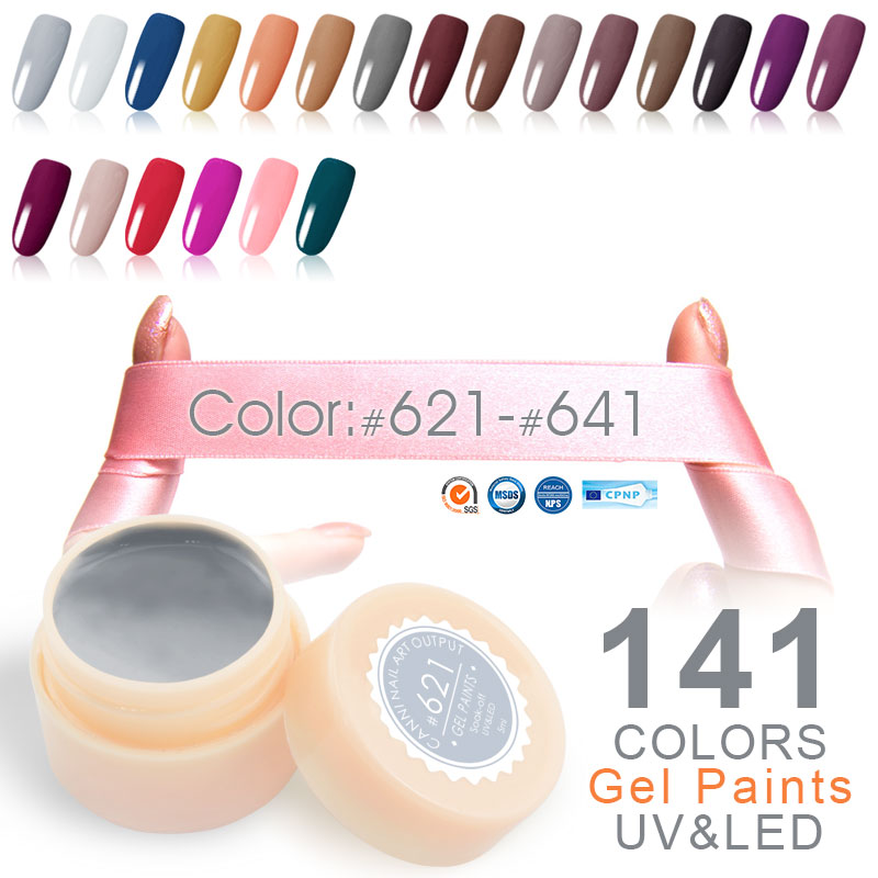 #50618 CANNI High Quality Paint Gel 5ML 141 Charming Pure Colors UV LED Nail Painting Gel Color #621-#641
