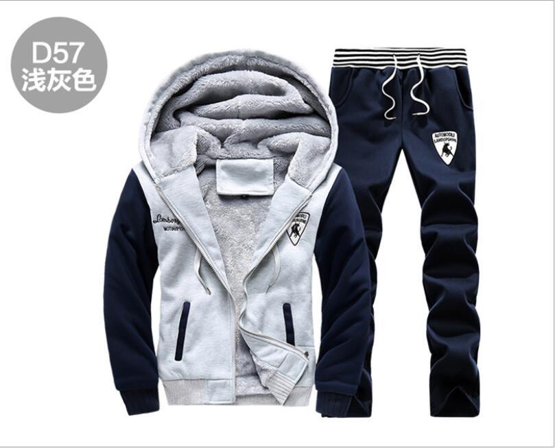 2019 nouveau PP35782 hommes ensemble mode hiver survêtements épais polaire doublé Hoodies sweat + pantalon survêtement hommes Sportswear - 5