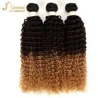 Joedir Brazilian Human Hair Extension T1B/4/27 Ombre Color Blonde Human Hair Bundles Kinky Curly Human Hair Bundles 2/3 Bundles