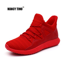 NANCY TINO Sneakers For Men Breathable Running Shoe Lace-up Platform Red White Mens Basketball Tennis Walking Athletic Shoes