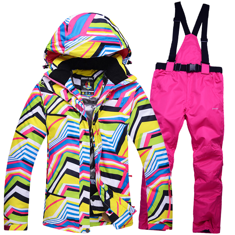HOT New Women Ski Jacket+Pants Outdoor Sport Wear Snowboard Skiing Suit Windproof Waterproof Super Warm Thicken Thermal Suit Set все цены