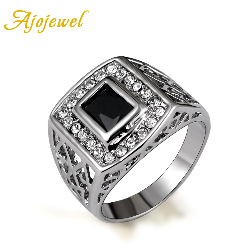 Size 7-12 Ajojewel Brand Square Black Zircon CZ Rings Men Fashion