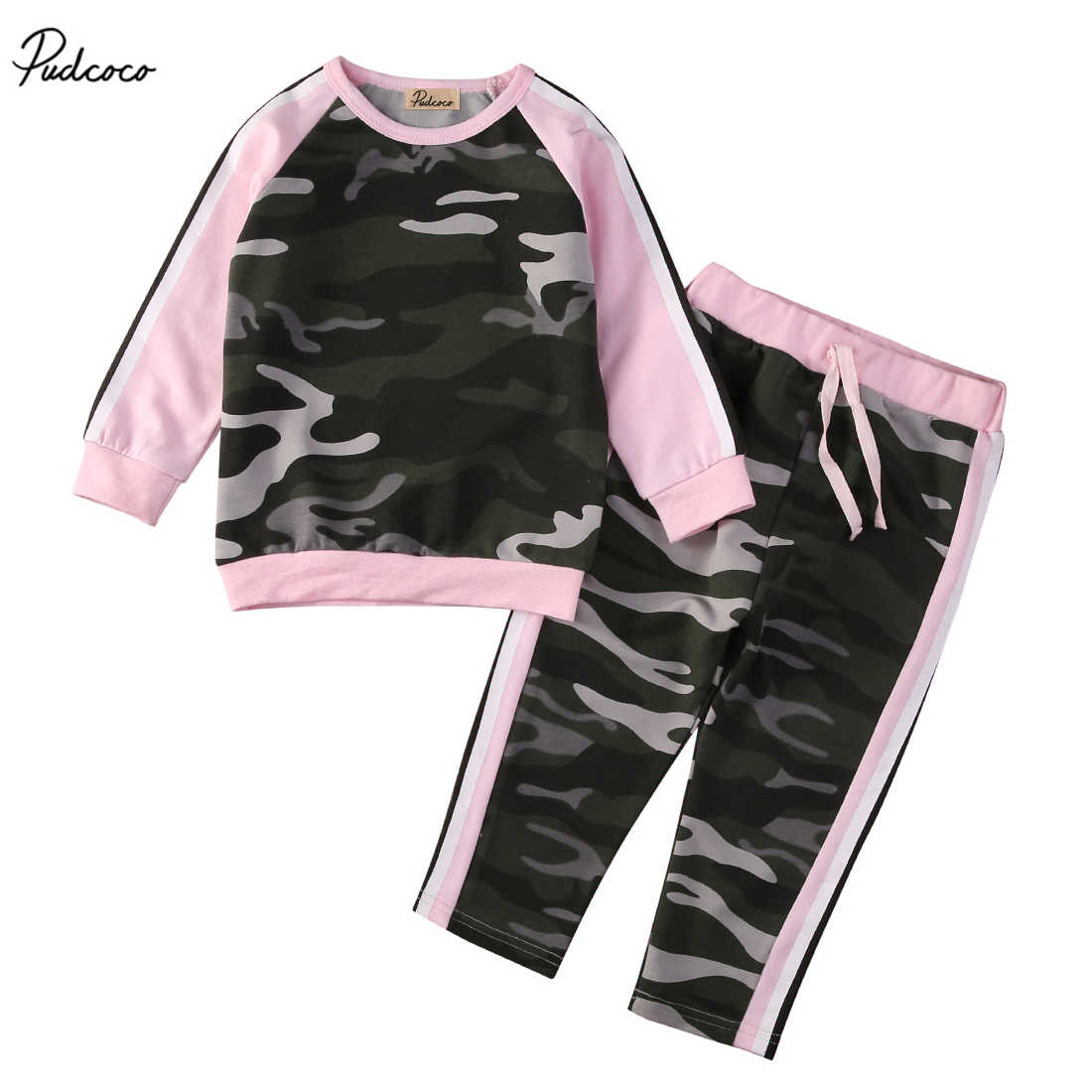 2PCS Kids Baby Toddler Girls Boys Clothes Set Camouflage Patchwork Long Sleeve T-shirt Tops Pants Leggings Outfits