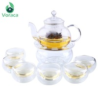 Transparent Glass 800ml Teapot Set with Infuser Teapot Warme 6pcs Double Wall Tea Cup Teaware Kung Fu Tea Drinking Tools Gifts