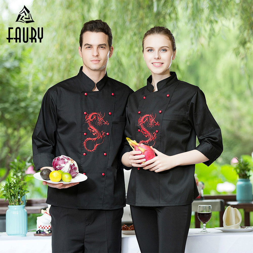 Chef Jacket Aprons Food Service Kitchen Cook Wear Uniform Embroidery Dragon Double-breasted Restaurant Bakery Workwear Wholesale