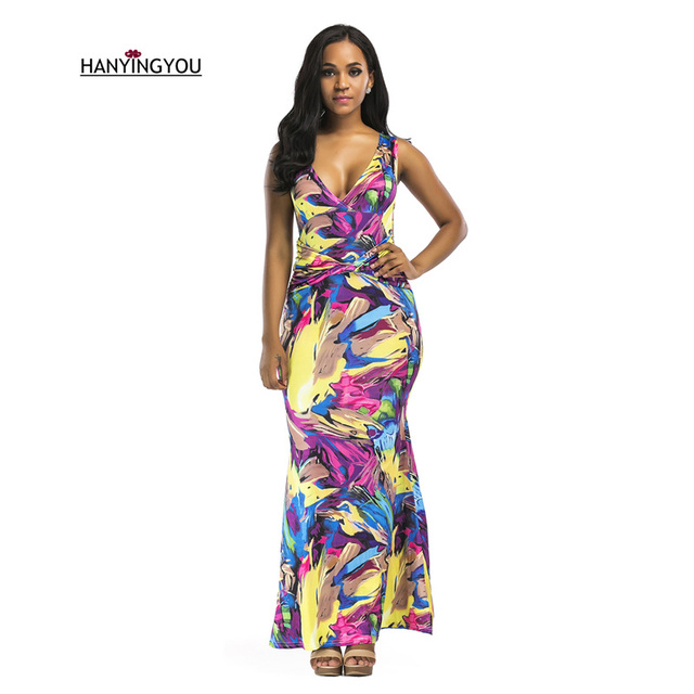 66f1afad611 2017 Summer New Women Indie Folk Colorful Print V-Neck High Waist Mermaid  Dresses Fashion Bow Pleated Sleeveless Long Dress S-XL