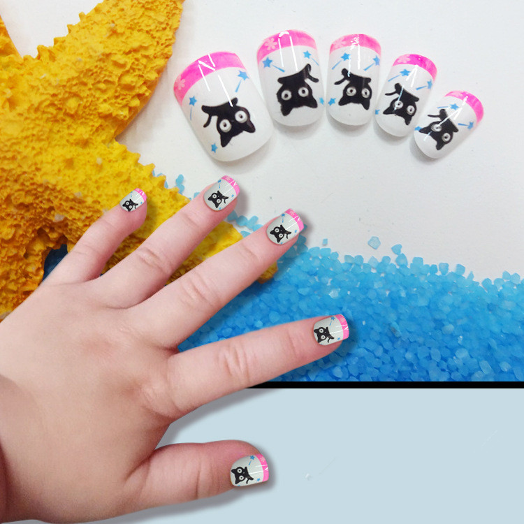 Online Shop New Cute Animals Children Fake Nails 24 Pcs Black French ...