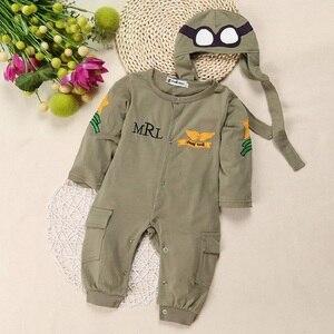 Airman/детские комбинезоны + Кепка, одежда для мальчиков, комбинезоны для новорожденных, Одежда для новорожденных, комбинезоны, Bebe Roupas, костюмы пилотов, Зеленые комплекты