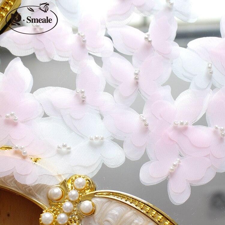 20 шт. ручной работы Вышивание Цветок жемчуг порошок стерео бабочка ювелирные изделия DIY материал платье украшения интимные аксессуары RS347