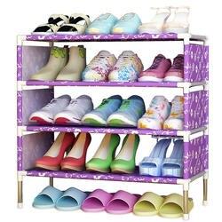 Простой обуви стойки легкими нетканые 4 уровня Обувь полка для хранения Организатор Стенд держатель держать комнату аккуратно двери
