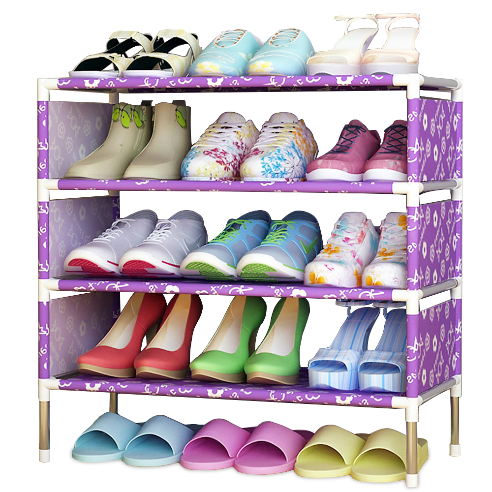 Simple shoe rack Easy Assembled Non-woven 4 Tier Shoes shelf Storage Organizer Stand Holder Keep Room Neat Door Space Saving nocm shoe rack free standing adjustable organizer space saving black 6 tier