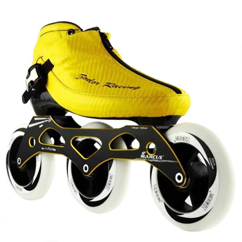 JEERKOOL Inline Speed Skates Carbon Fiber Fiberglass Three Wheel Kid Adult Competition Street Racing Shoes Training Patine SH26