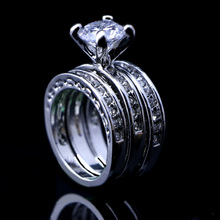 30pcs Fashion 3 in 1 Austria Crystal Cubic Zirconia Silver Plated White Engagement Wedding Women Rings Bridal Ring A-627