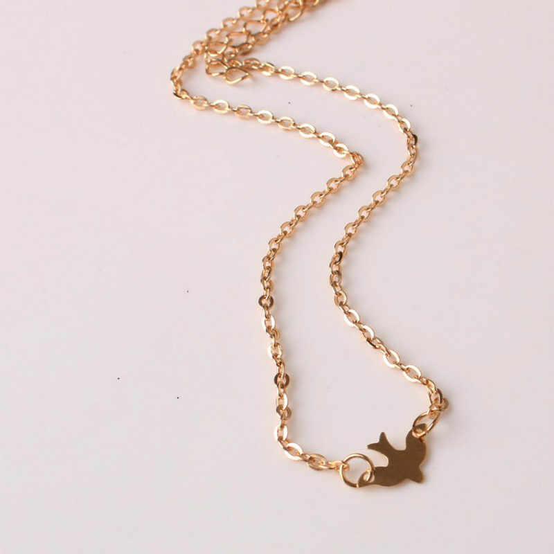 2017 Nóng bán Đơn Giản Thời Trang Vàng Nữ xương đòn ngắn chuỗi vòng cổ Delicate Vàng bird Necklace/Bồ Câu Vòng Cổ