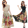 Summer floral print maxi dresses women casual loose chiffon o-neck long dress plus size vestido