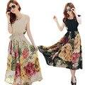 Verano de la impresión floral vestidos maxis de las mujeres ocasionales flojas de la gasa del o-cuello vestido largo más tamaño vestido