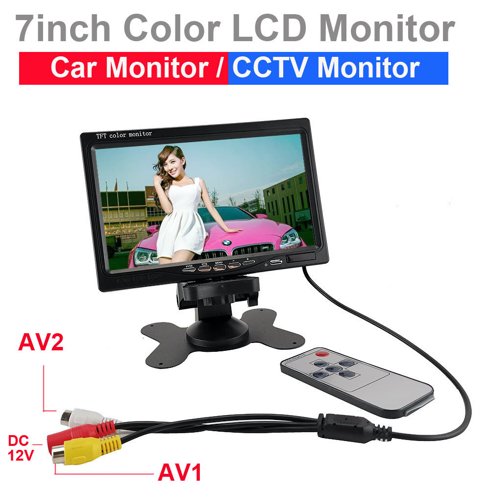 2ch video input 7inch color mini monitor for car parking system for cctv camera test view analog camera monitor