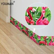 Modern Flamingo Cartoon 3D Sticker Wallpaper Waterproof Self adhesive Waist lines Wall Border Sticker for Kitchen Bathroom Decor