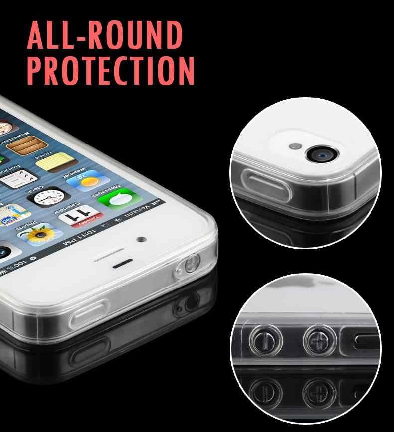 2018 Pouch Nyata Baru Ponsel untuk iPhone 4X5 5 S 6 6 S Plus 7 8 Ultra Tipis lembut TPU Geltransparent Crystal Kembali Cover