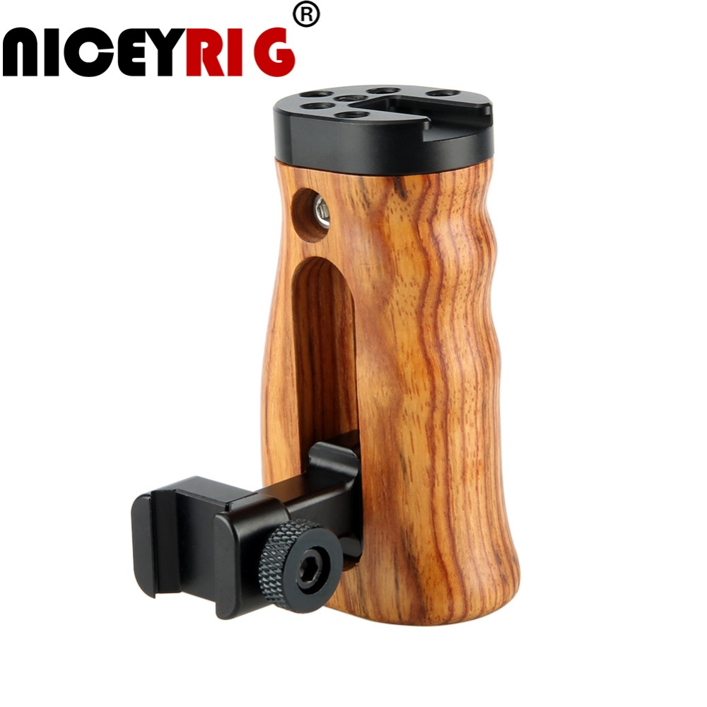 NICEYRIG Camera Wood Grip DSLR Handle Camera Rig Stabilizer Wooden Grip NATO Rail Clamp Cold Shoe