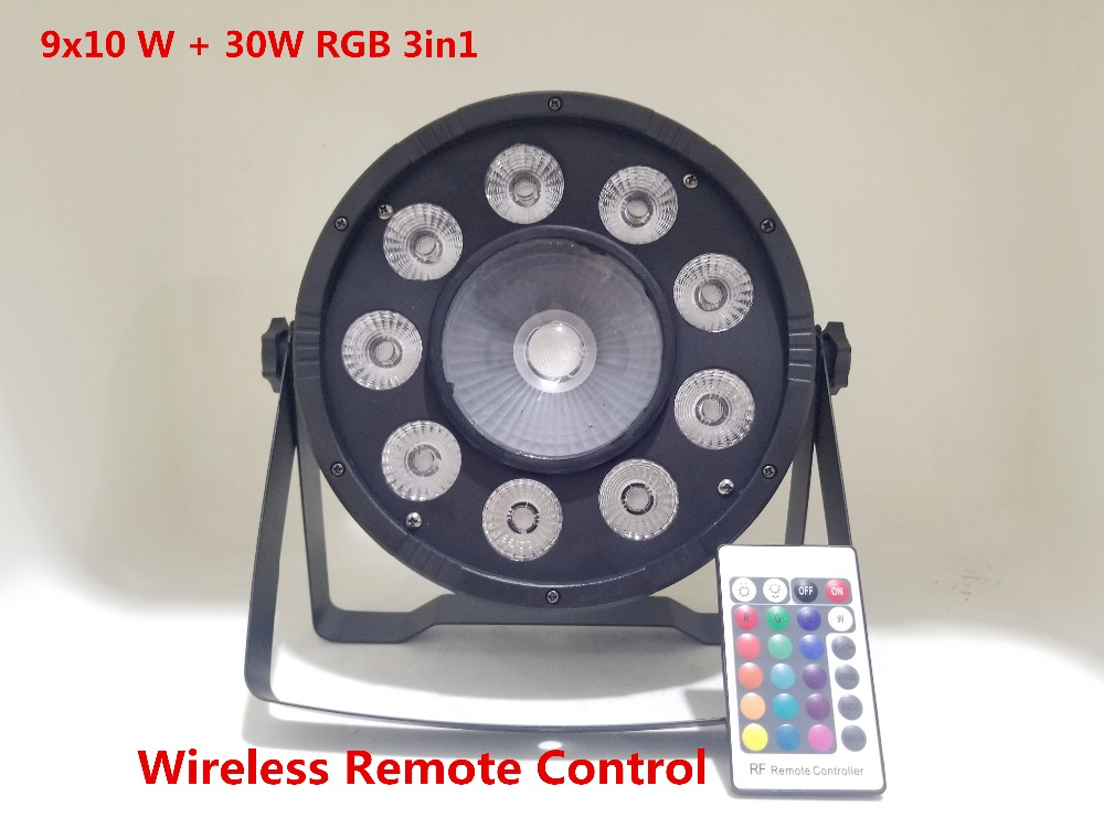 Wireless Remote Control LED 9x10 W + 30W RGB 3in1 LED Par Light Wash Step Uplighting No Noise Remote Control Stage Light